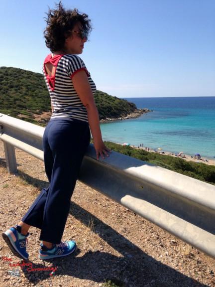 Mari Pintau. Bloody Edith striped tee, Please trousers, New Balance sneakers